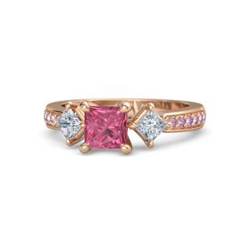 Princess Pink Tourmaline 14K Rose Gold Ring with Diamond & Pink Sapphire