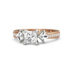 Princess Rock Crystal 14K Rose Gold Ring with Rock Crystal & White Sapphire