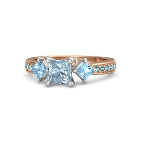 Princess Aquamarine 14K Rose Gold Ring with Blue Topaz and London Blue Topaz