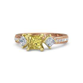 Princess Yellow Sapphire 14K Rose Gold Ring with Diamond