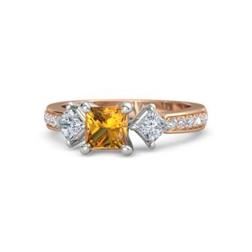 Princess Citrine 14K Rose Gold Ring with Diamond