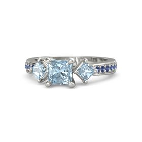 Princess Aquamarine 14K White Gold Ring with Aquamarine and Blue Sapphire