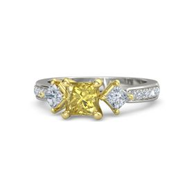 Princess Yellow Sapphire 14K White Gold Ring with Diamond