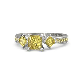 Princess Yellow Sapphire 14K White Gold Ring with Yellow Sapphire