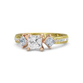 Princess White Sapphire 14K Yellow Gold Ring with Diamond