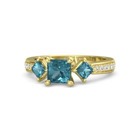 Princess London Blue Topaz 14K Yellow Gold Ring with London Blue Topaz and White Sapphire