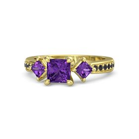 Princess Amethyst 14K Yellow Gold Ring with Amethyst & Black Diamond