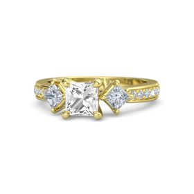 Princess Rock Crystal 14K Yellow Gold Ring with Diamond