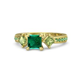 Princess Emerald 14K Yellow Gold Ring with Peridot and Emerald