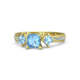 Princess Blue Topaz 14K Yellow Gold Ring with Blue Topaz