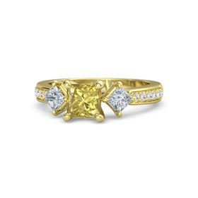 Princess Yellow Sapphire 14K Yellow Gold Ring with Diamond and White Sapphire