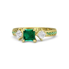 Princess Emerald 14K Yellow Gold Ring with White Sapphire and Emerald
