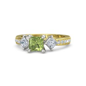 Princess Peridot 14K Yellow Gold Ring with Diamond