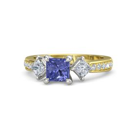 Princess Tanzanite 14K Yellow Gold Ring with Diamond