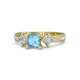 Princess Blue Topaz 18K Yellow Gold Ring with Diamond