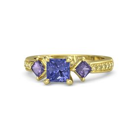 Princess Tanzanite 18K Yellow Gold Ring with Iolite and Yellow Sapphire