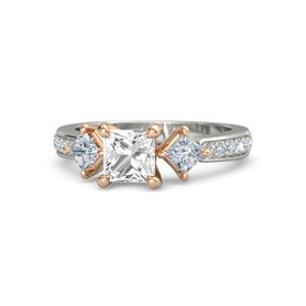 Princess Rock Crystal Palladium Ring with Diamond