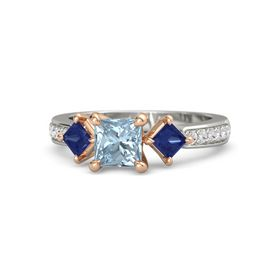 Princess Aquamarine Palladium Ring with Sapphire & White Sapphire