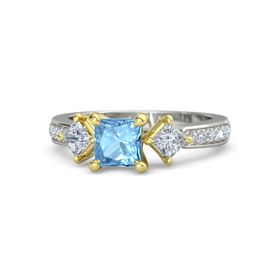 Princess Blue Topaz Palladium Ring with Diamond