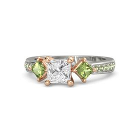 Princess White Sapphire Palladium Ring with Peridot