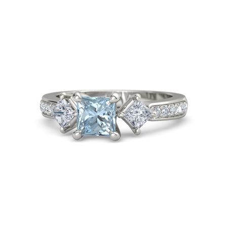 princess aquamarine palladium ring with caroline