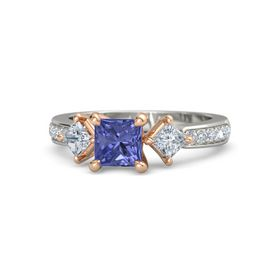 Princess Tanzanite Platinum Ring with Diamond