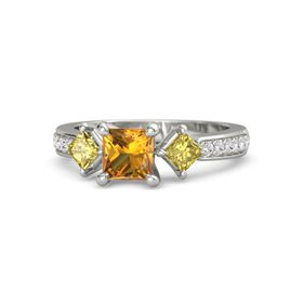 Princess Citrine Platinum Ring with Yellow Sapphire & White Sapphire