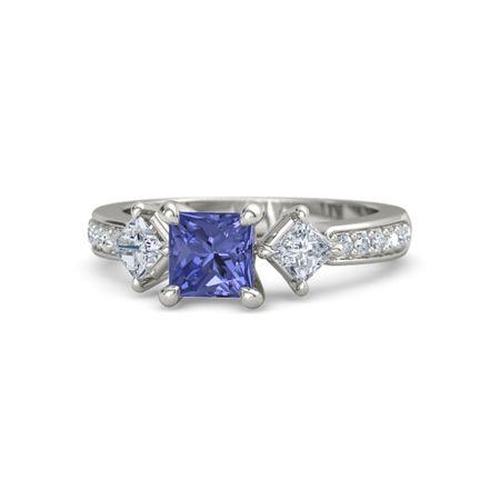 Princess Tanzanite Platinum Ring with Diamond | Caroline ...