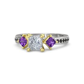 Princess Diamond Sterling Silver Ring with Amethyst and Black Diamond