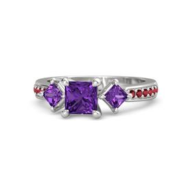 Princess Amethyst Sterling Silver Ring with Amethyst and Ruby