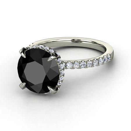 Round Black Diamond Platinum Ring with Diamond | Carrie ...