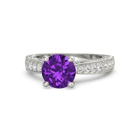 Round Amethyst 14K White Gold Ring with Tanzanite and White Sapphire
