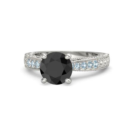 Round Black Diamond 14K White Gold Ring with Aquamarine ...