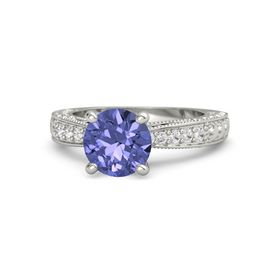 Round Tanzanite 14K White Gold Ring with Tanzanite and White Sapphire