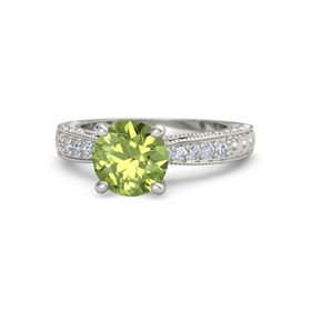 Round Peridot Palladium Ring with Diamond