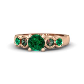 Round Emerald 14K Rose Gold Ring with Alexandrite and Emerald