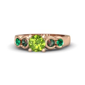 Round Peridot 14K Rose Gold Ring with Alexandrite and Emerald