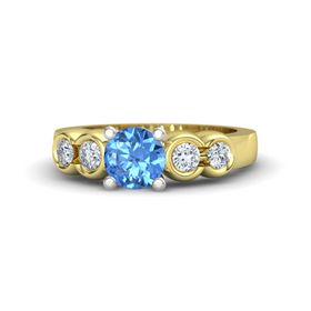 Round Blue Topaz 14K Yellow Gold Ring with Diamond