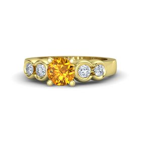 Round Citrine 14K Yellow Gold Ring with Diamond