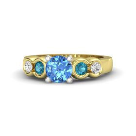 Round Blue Topaz 14K Yellow Gold Ring with London Blue Topaz and White Sapphire