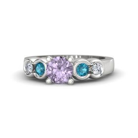 Round Rose de France Sterling Silver Ring with London Blue Topaz and Diamond