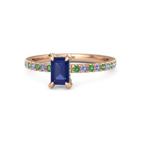 Emerald Blue Sapphire 14k Rose Gold Ring With Emerald And Iolite