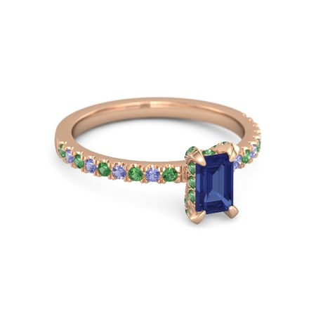 Jewelry Adviser 14K White Gold Girl 6x4 Oval Genuine Emerald-May