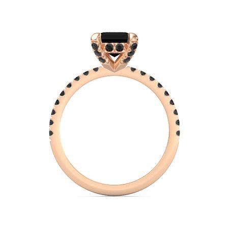 Emerald Cut Black yx 14K Rose Gold Ring with Black Diamond