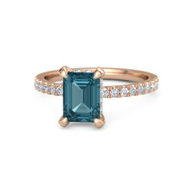 Emerald-Cut London Blue Topaz 14K Rose Gold Ring with Diamond