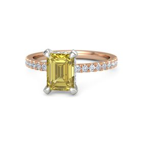 Emerald-Cut Yellow Sapphire 14K Rose Gold Ring with Diamond