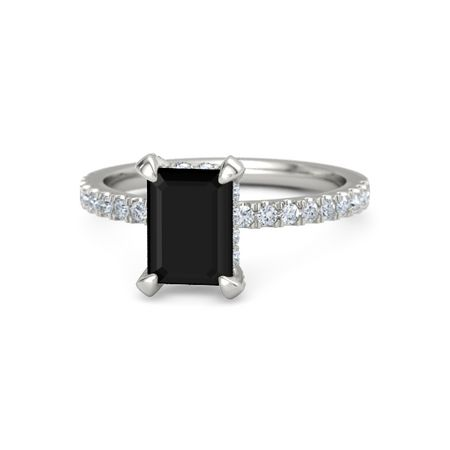 Emerald Cut Black yx 14K White Gold Ring with Diamond