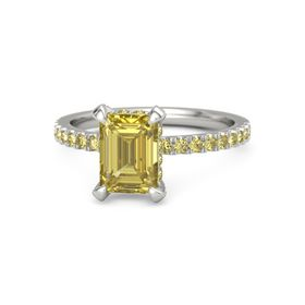 Emerald-Cut Yellow Sapphire 14K White Gold Ring with Yellow Sapphire