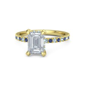 Emerald Diamond 14K Yellow Gold Ring with Aquamarine and Blue Sapphire