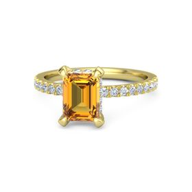 Emerald-Cut Citrine 14K Yellow Gold Ring with Diamond